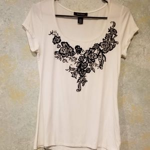 White House Black Market Applique Poly Shirt XXS